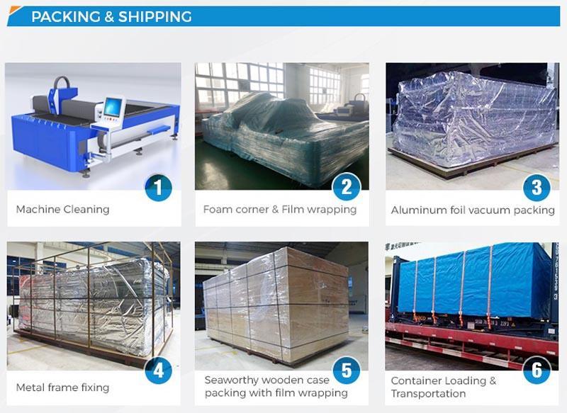 dekcel cnc 500w fiber metal laser cutting machine packing